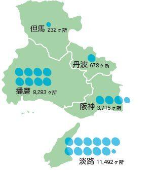 兵庫県ため池分布図(H31.4時点)