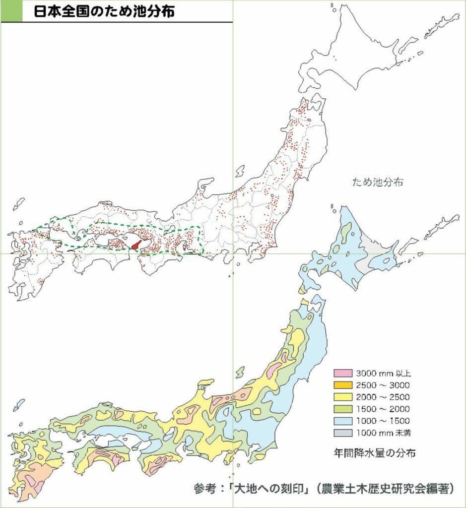 日本全国のため池分布図